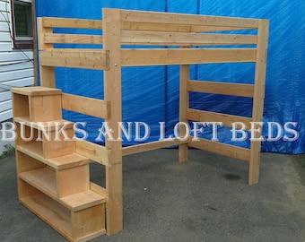 twin size heavy duty loft bed with stair case shelf