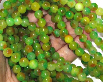 Two Toned 8 mm Natural Jade Beads