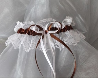 Garter lace white (or ivory) and chocolate brown