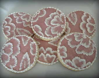 Hand Painted Lace Embroidery Cookies -  1 dozen sugar cookies