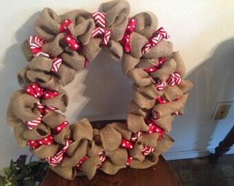 Burlap wreath with chevron and polka dot ribbion