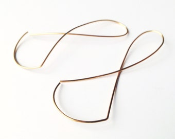 Endless . Gold plated earrings. Unique modern minimalist shape. Fine Jewellery. Free Delivery.