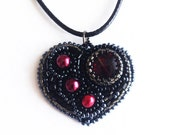 Bead embroidery Pendant hand embroidered black heart girt for her Valentines Day Heart.