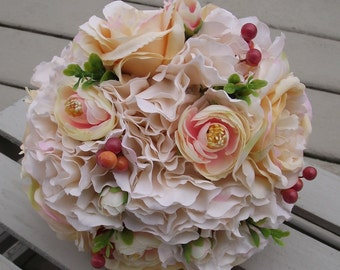 Wedding Flowers,  Rustic Bouquet, Wedding Bouquet, Bridal Bouquet, Flowers with  hydrangea, champagne roses, blush,  rose, lace wedding