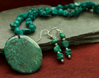Jewelry for Bema Real Turquoise Pendant Necklace and Earrings