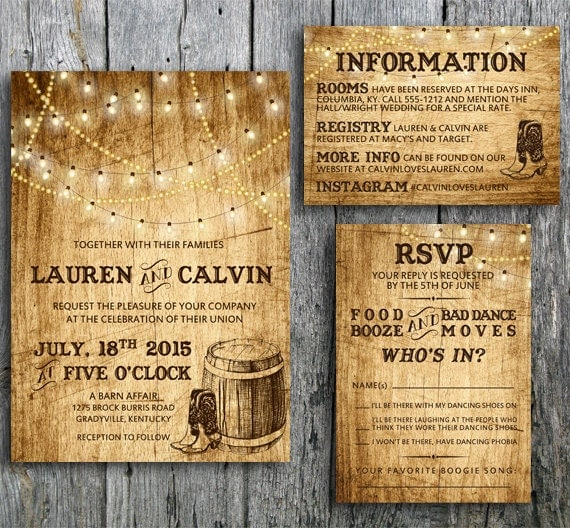Country Wedding Invitation Wording: Country Wedding Invitation Suite With Lights And By