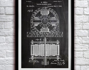 Nikola Tesla Electromagnet 1884 - Science Decor - Patent Print Poster Wall Decor - 0117