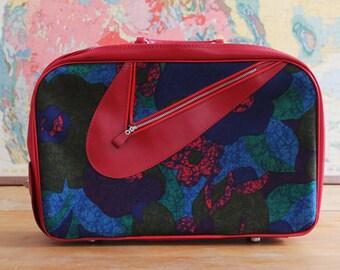 Mod Overnight Bag Suitcase 1960's, Vintage Red and Blue Floral Patterned