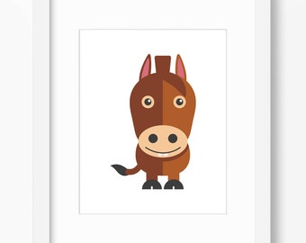 Horse Print, Horse Art, Nursery Art, Nursery Print, Nursery Horse Print, Nursery Horse Art, Kids Horse Art, Kids Farm Art, Kids Horse Print