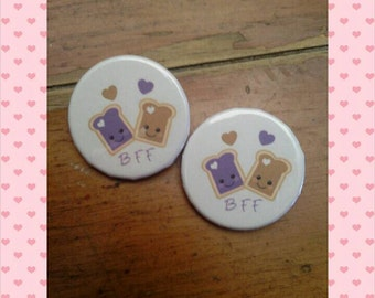 Bff pinback buttons - set of 2