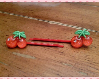 Bobby pins - set of 2 small cherries