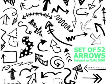 Digital hand drawn doodle arrows vector clip art simple ZIP file includes transparent individual png files, 1 eps file instant download
