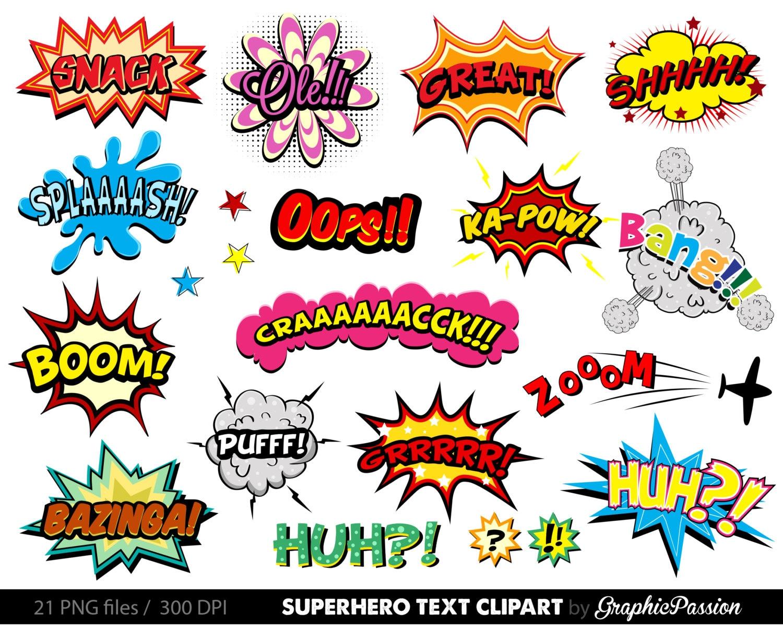 Comic Clipart Superhero Bubbles Clipart Speech Bubbles Clipart