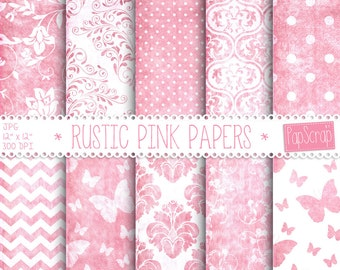 "Pink digital paper : ""Rustic Pink Papers"" digital paper with chevron, polka dot and damask on grungy pink background, distressed paper"