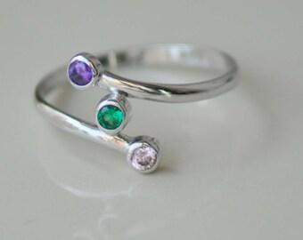 Three Birthstone Ring, Personalized Bridesmaids Gifts, personalized three stone ring, gemstone ring