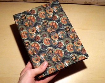 Sketchbook/Journal - Vintage Green and Orange Fabric cover