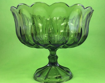 1970s Green Glass Compote with Pedestal