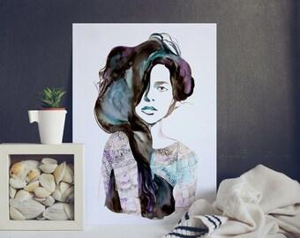 Passion Watercolor painting - Print - Watercolor Art woman portrait - fashion hairstyle - black hair - beauty brunette