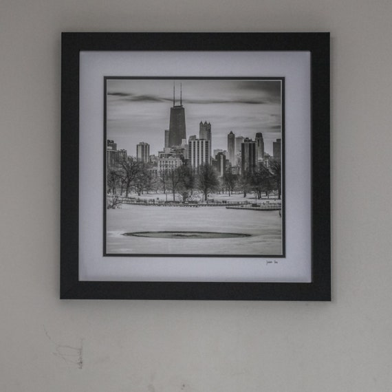 Frame 18x18 Quot With Double Mat And Print Quot Winter Skyline