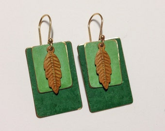 Green Patina'd Feather and Rectangle Earrings
