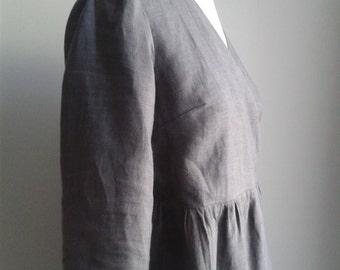 Grey Linen Kimono Wrap Dress