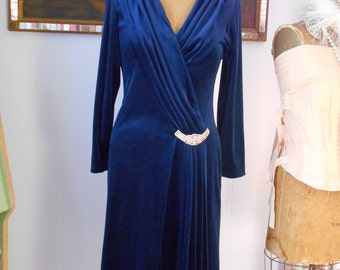 1960's Dark Royal Blue Velour Wrap Dress with Rhinestone Detail at Hip