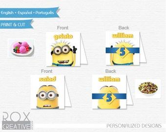 Minions Food Tents, Minion food labels, Custom Design, Double Side Design
