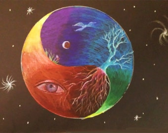 Yin-Yang, Eye-heart, Soul-rooted print