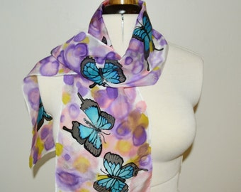 Ulysses Butterfly Scarf – Hand painted 100% Habotai silk scarf