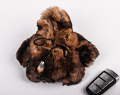 Brown Fur Coat Keychain with Hood