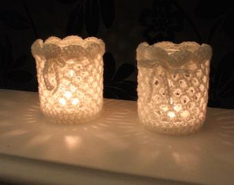 SET OF 2 Upcycled Shabby chic crochet candle tea light holder