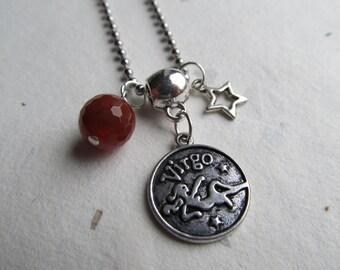 SALE!!! Zodiac necklace Virgo Carnelian, virgo jewelry, zodiac jewelry