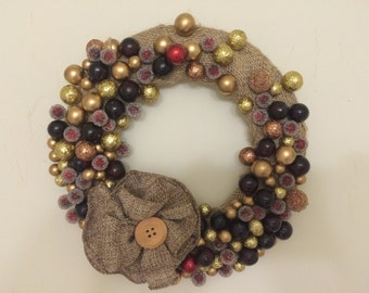 Burlap Berry Wreath, Burlap Wreath, December Wreath, Berry Wreath, Christmas Wreath, Wreath, Burlap Flower,