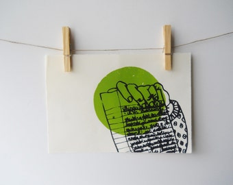 List and Circle screenprint | lime green, black, hand and lined-paper list | line sketch, circle