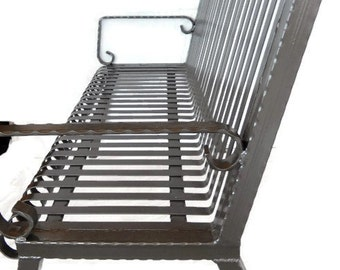 Handcrafted Vintage Style Wrought Iron Bench