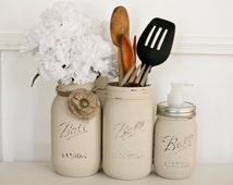 Painted Distressed Mason Jars Kitchen Set - Home Decor - Rustic Decor - Cottage Kitchen - Kitchen Decor - Kitchen Utensil Holder