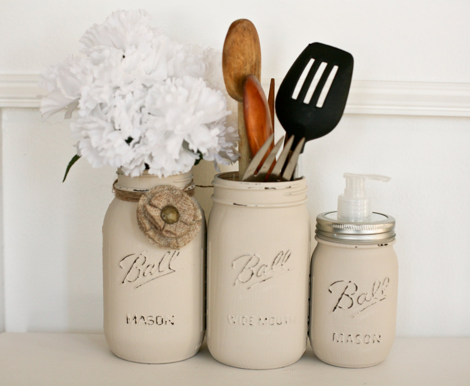 Customizablepainted Distressed Mason Jars Kitchen By Pinkbirdiejar