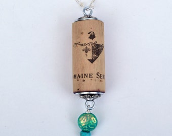Wine Cork Necklace with Czech glass pendant