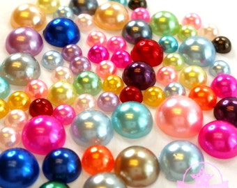 300 4mm-8mm Colorful DIY Art Faux Pearls Flat Back Cabochon Mix Colors & Size M1-10
