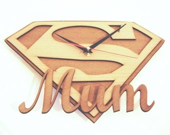 """Wooden wall clock """" SUPER MUM"""" a perfect gift for a mother"""