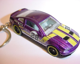 3D Ford Mustang Shelby GT500 custom keychain by Brian Thornton keyring key chain finished in purple