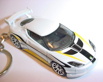 3D Lotus Evora GT4 custom keychain by Brian Thornton keyring key chain finished in white/black/yellow color race trim
