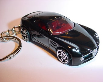3D Alfa-Romeo 8C custom keychain by Brian Thornton keyring key chain finished in black color stock trim