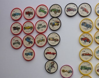 Change Vintage Car. Hostess Picture Wheels Collection Coins. Hostess Jello wheels 1960s.Vintage car discs,  all different. Lot of 68 cars
