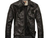 NEW Fashion Men's leather motorcycle coats jackets washed leather coat
