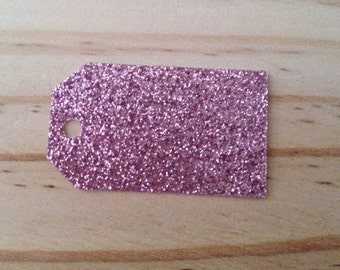 Dusky Pink GlitterTags - Lot of 50 tags.