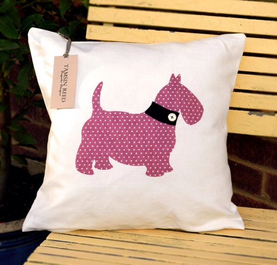 """HALF PRICE! Scottie Dog Cushion - Pink Polka Dot, Green Polka, Blue Collage, Tartan,""""The Scotties of McDawg"""" Collection,Tamsin Reed Designs"""