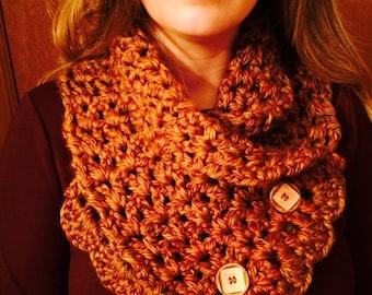 Crochet Scarf, Crochet Cowl, Ladies Neckwarmer, Button Cowl,