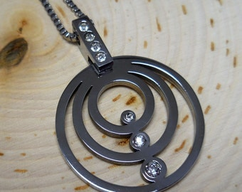 """Stainless Steel Concentric Circle Crystal Pendant 16"""" Necklace"""