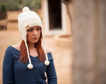 Hand Knit Ear Flap Hat, Warm Winter Beanie, Womens Hat with Pom Pom